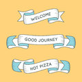 Trendy retro ribbons. Colorful banner with ribbon for design, ga