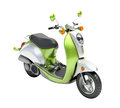 Trendy retro scooter close up green on a light background Royalty Free Stock Images