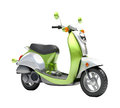 Trendy retro scooter close up green on a light background Stock Photo