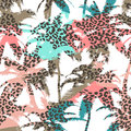 Trendy seamless exotic pattern with palm and animal prints . Modern abstract design for paper, wallpaper, cover, fabric