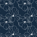 Trendy seamless floral print with magnolia flowers on deep blue color. Vector hand drawn illustration for print,textile,wrapping Royalty Free Stock Photo
