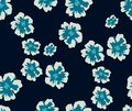 Trendy Seamless Pattern with Decorative Flowers. Repeating Design for Fabric Prints. Dark Blue background. Modern Floral Backgroun Royalty Free Stock Photo