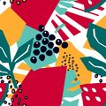 Trendy seamless pattern with grapes, monstera leaves, watermelon and papaya.