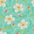 Trendy seamless vector repeat floral garden pattern with flowers and leaves in green, peach, gold, white, yellow, red colors.