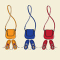 Trendy shoes and matching handbags design illustration of three sets of casual lace up with shoulder straps isolated on a neutral Stock Images