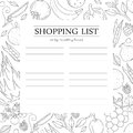Trendy shopping list template with vegetables.