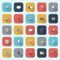 Trendy simple communication icons set in flat design with long s shadows for web mobile applications social networks etc vector Royalty Free Stock Photos