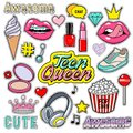 Trendy sticker pack heart, crown, lips, diamond. Cute fashion stikers kit. Doodle pop art sketch badges and pins. Vector Royalty Free Stock Photo