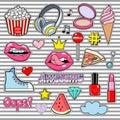 Trendy sticker pack heart, crown, lips, sneakers, cloud, diamond. Cute fashion stikers kit. Doodle pop art sketch badges Royalty Free Stock Photo