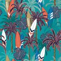 Trendy Summer vacation seamless hand drawing tropical pattern