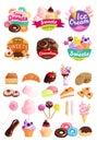 Trendy Sweets Stickers Icon Set
