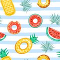 Trendy texture for textile. Seamless pattern with inflatable swimming pool rings in the shape of pineapple, watermelon, and donut.
