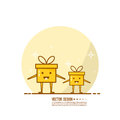 Trendy vector icon giftbox with ribbons.