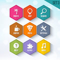 Trendy Vector Rounded Hexagon Icons Set 3 Royalty Free Stock Photo
