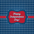 Trendy vintage styled july th badge card template with style and and rhombus background that reads happy independence day Stock Image