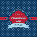 Trendy vintage styled july th badge independence day card template with style and and polka dots background that reads usa Royalty Free Stock Image