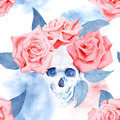 Trendy watercolor pattern with roses and skull. Royalty Free Stock Photo