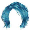 Trendy woman disheveled hairs blue colors . beauty fashion . r