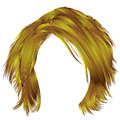 Trendy woman disheveled hairs bright yellow colors . beauty