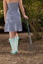 Trendy woman gardener in blue gumboots a dress and standing with her back to the camera holding a metal fork view from the Royalty Free Stock Photography