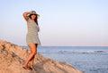 Trendy woman posing in evening light Royalty Free Stock Photo