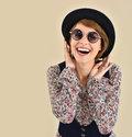 Trendy woman wearing sunglasses cheerful girl with isolated Stock Images