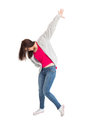 Trendy young woman dancing on white background Stock Image