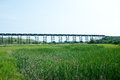 Tressel bridge old outside of minot nd with a train going across the with tanker cars Stock Photography