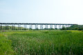 Tressel bridge old outside of minot nd with a train going across the with tanker cars Royalty Free Stock Photography