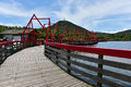 Trestle bridge the made of steel and wood Royalty Free Stock Photos