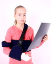 Treurig meisje met de foto van de Röntgenstraal Stock Afbeeldingen