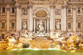 Trevi fountain rome stunningly ornate illuminated at night in the heart of Royalty Free Stock Photography