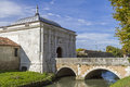 Treviso in veneto entrance to city gate with bridge and moat Stock Image