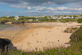 Treyarnon Bay beach Cornwall England UK Cornish north between Newquay and Padstow Royalty Free Stock Photo
