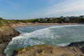 Treyarnon Bay beach and waves coast Cornwall England UK Cornish north between Newquay and Padstow Royalty Free Stock Photo