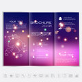 Tri-Fold Brochure mock up vector design. Smooth unfocused bokeh background with shiny elements. Corporate Business Style Royalty Free Stock Photo