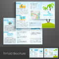Tri fold flyer brochure or template design for tour and travels stylish decorated with nature view concept Royalty Free Stock Image