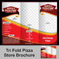 Tri fold pizza store brochure Royalty Free Stock Photo