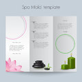 Tri fold spa brochure mock up booklet layout editable design template Royalty Free Stock Photos