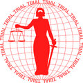 Trial themis court stands in the globe Stock Photography