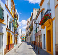 Triana barrio facades in Seville Andalusia Spain Royalty Free Stock Photo