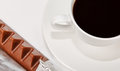 Triangle chocolate and  black coffee Stock Images