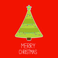 Triangle christmas tree with lights merry christmas card vector illustration Stock Images