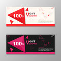 Triangle elegance pink Red gift voucher template layout design set, certificate discount coupon pattern for shopping Royalty Free Stock Photo