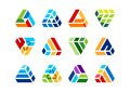 Triangle element building logo construction house architecture real estate home elements set of symbol icon design vector Royalty Free Stock Image