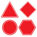 Triangle hexagon square and Circle red sign isolated on white background. Royalty Free Stock Photo