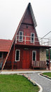 Triangle house building beautiful and unique wooden Stock Photography