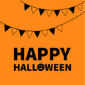 Triangle paper flags. Happy Halloween Lettering text banner with sad black pumpkin silhouette. Colorful flag set hanging on rope.