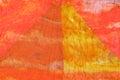 Triangle pattern on stitched orange silk batik