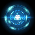 Triangle power digital button blue Stock Images